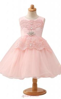 Candy Pink Princess Jewel Tea Length Kid's Prom Dresses(HT18)