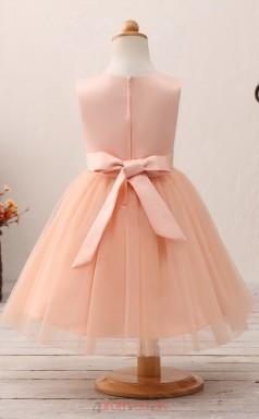 Pink Princess Jewel Tea Length Kid's Prom Dresses(HT21)