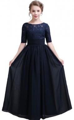 Navy Blue Lace Chiffon Half Sleeved Child Bridesmaid Dress Flower Girl Dress JFGD002