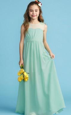 Green Chiffon Junior Bridesmaid Dress Flower Girl Dress JFGD006