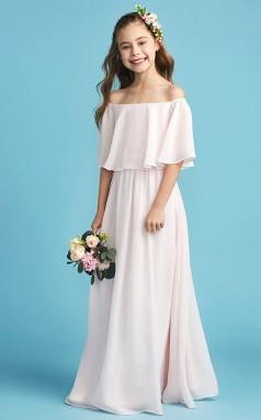 Little Pink Long Chiffon Junior Bridesmaid Dress Flower Girl Dress JFGD007