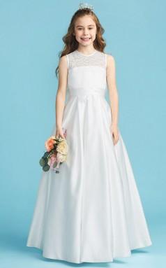 White Satin Junior Bridesmaid Dress First Communion Dress with Bows JFGD009
