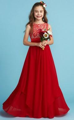 Red Chiffon Junior Bridesmaid Dress Wedding Flower Girl Dress JFGD010
