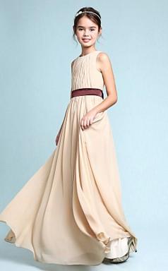 Simple Champange Chiffon Junior Bridesmaid Dress Flower Girl Dress JFGD019