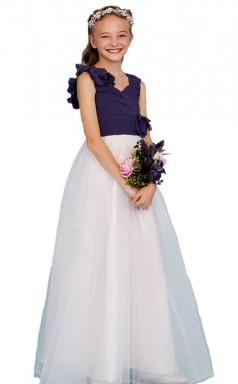Purple White Junior Bridesmaid Dress Flower Girl Dress Handmade Flowers JFGD021