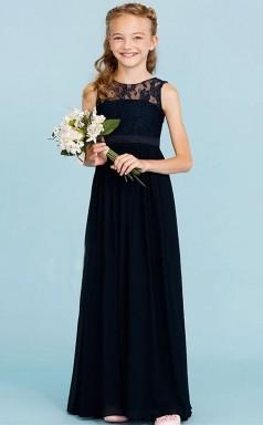 Black Lace Chiffon Child Bridesmaid Dress Flower Girl Dress JFGD023