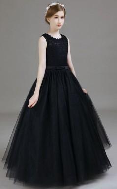 Black Lace Tulle Child Bridesmaid Dress Flower Girl Dress JFGD031