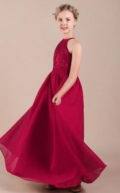 Burgundy Halter Lace Chiffon Kids Formal Dress Junior Bridesmaid Dress JFGD040
