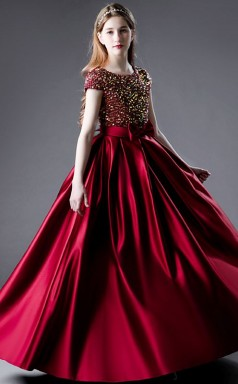 Burgundy Sequins Half Sleeved Junior Prom Dress Girls Birthday Party Dress JFGD068