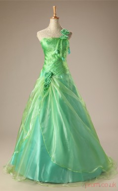 Burgundy Taffeta Organza Ball Gown One Shoulder Sleeveless Prom Ball Gowns(JT4-JMC73)