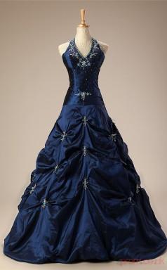 Turquoise Taffeta Ball Gown V-neck Halter Sleeveless Prom Ball Gowns(JT4-JMC82)