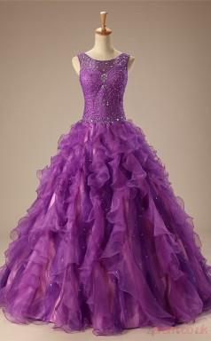 Purple Organza Ball Gown Scoop Sleeveless Prom Ball Gowns(JT4-JMC131)