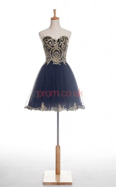 Black Tulle A-line Sweetheart Sleeveless Cocktail Dress(JT4-JMD0018)