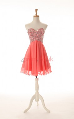 Watermelon Chiffon Sequined A-line Sweetheart Sleeveless Cocktail Dress(JT4-JMD0020)