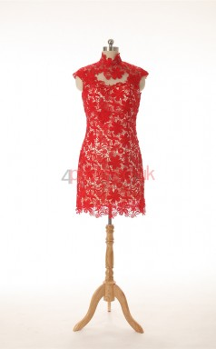 Red Lace Sheath/Column High Neck Short Sleeve Cocktail Dress(JT4-JMD0021)