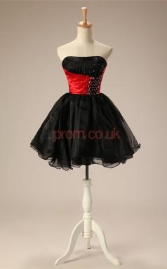 Black Tulle Taffeta Princess Strapless Sleeveless Cocktail Dress(JT4-JMD66)