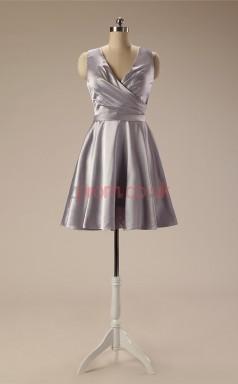 Silver Taffeta A-line V-neck Sleeveless Cocktail Dress(JT4-JMD122)