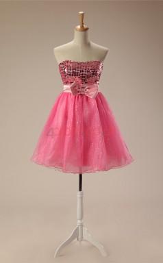 Candy Pink Taffeta Tulle A-line Strapless Sleeveless Cocktail Dress(JT4-JMD123)