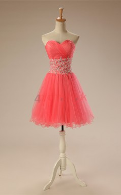 Watermelon Tulle Sequined A-line Sweetheart Sleeveless Cocktail Dress(JT4-JMD142)