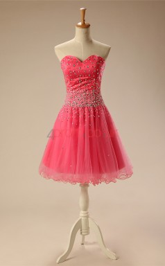 Pink Tulle Sequined A-line Sweetheart Sleeveless Cocktail Dress(JT4-JMD154)