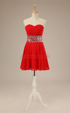 Red Chiffon A-line Sweetheart Sleeveless Cocktail Dress(JT4-JMD163)