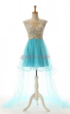 Deep Sky Blue Tulle A-line Jewel Short Sleeve Cocktail Dress(JT4-JMD168)