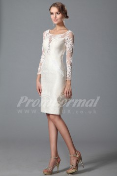 Sheath Illusion 3/4 Length Sleeve Knee-length White Lace , Satin Bridal Evening Gown (PRJT04-1813)