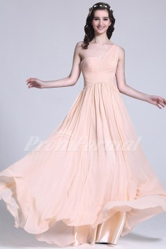 A-line One Shoulder Long Pearl Pink 100D Chiffon Evening Dresses(PRJT04-1820)