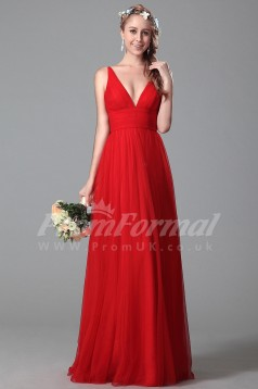 A-line V-neck Long Red Tulle Evening Dresses(PRJT04-1824)