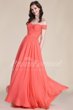 A-line Off The Shoulder Long Watermelon 100D Chiffon Evening Dresses(PRJT04-1826)