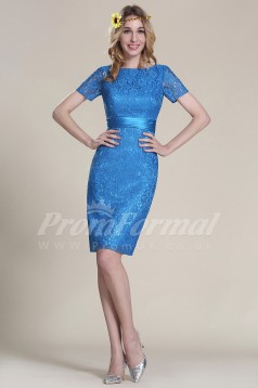 Sheath Bateau Short Sleeve Short/Mini Light Royal Blue Lace Cocktail Dresses(PRJT04-1828)
