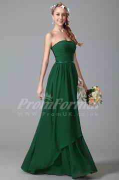 A-line Strapless Long Dark Green 100D Chiffon Evening Dresses(PRJT04-1835)