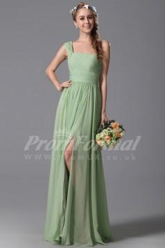 A-line One Shoulder Long Midium Sea Green 100D Chiffon Evening Dresses(PRJT04-1836)