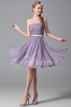 A-line Strapless Short/Mini Lilac 100D Chiffon Cocktail Dresses(PRJT04-1840)