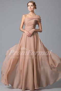 A-line One Shoulder Short Sleeve Long Nude Pink 100D Chiffon Prom Dresses(PRJT04-1846)