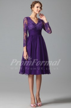 A-line V-neck 3/4 Length Sleeve Knee-length Regency Lace , Chiffon Prom Dresses(PRJT04-1847)