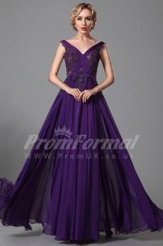 A-line V-neck Long Purple 100D Chiffon Prom Dresses(PRJT04-1850)