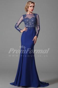 Mermaid Bateau 3/4 Length Sleeve Sweep Train Royal Blue 100D Chiffon Prom Dresses(PRJT04-1852)
