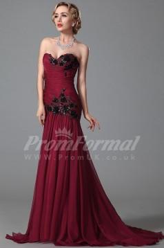 Mermaid Sweetheart Sweep Train Burgundy 100D Chiffon Prom Dresses(PRJT04-1853)