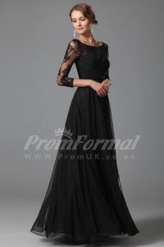 A-line Scoop 3/4 Length Sleeve Long Black Lace , Chiffon Prom Dresses(PRJT04-1858)