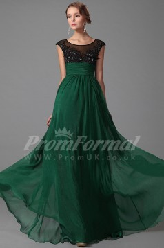 Scoop Scoop Short Sleeve Long Dark Green Velvet Chiffon Prom Dresses(PRJT04-1865)
