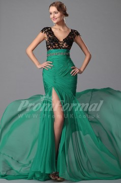Mermaid V-neck Short Sleeve Long Jade Velvet Chiffon Prom Dresses(PRJT04-1868)