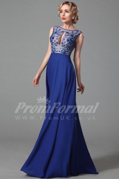Mermaid Bateau Long Medium Blue Satin Chiffon , Lace Prom Dresses(PRJT04-1872)