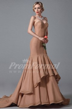 Mermaid Sweetheart Long Dark Salmon 100D Chiffon Prom Dresses(PRJT04-1880)