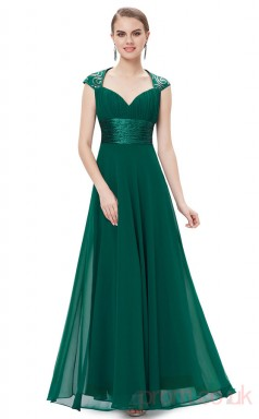 A-line V-neck Long Dark Green Chiffon , Lace Evening Dresses with Short Sleeves(PRJT04-1900-D)