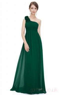 A-line One Shoulder Long Dark Green Chiffon Cocktail Dresses(PRJT04-1906-C)