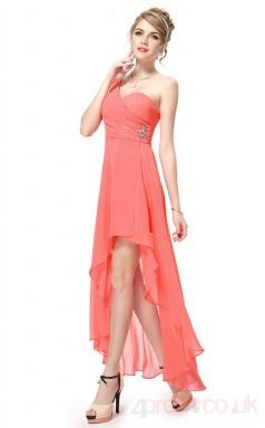 A-line Sweetheart Neckline Hi Low Watermlon Chiffon Prom Dresses(PRJT04-1914-B)