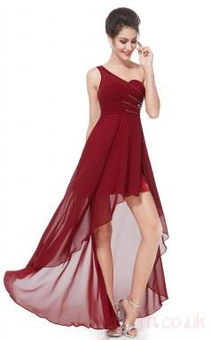 A-line One Shoulder Hi Low Burgundy Chiffon Prom Dresses(PRJT04-1914-C)