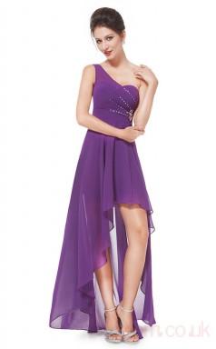 A-line One Shoulder Hi Low Light Purple Chiffon Prom Dresses(PRJT04-1914-E)