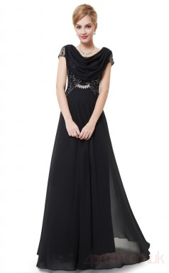 A-line Cowl Long Black Chiffon , Sequined Prom Dresses with Short Sleeves (PRJT04-1919-E)